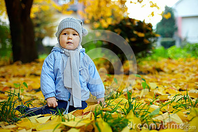 Cute baby boy among fallen leaves in autumn park