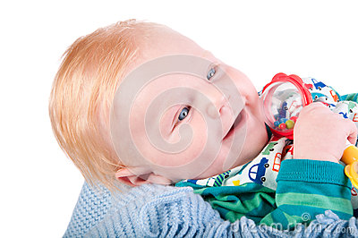 Cute Baby boy s portrait with bauble