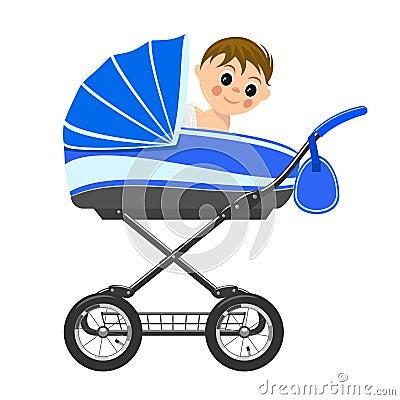 Cute baby boy sitting in stroller.