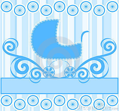 cute baby boy stroller on blue striped background