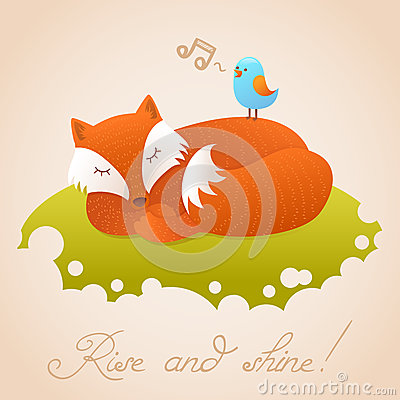 Cute baby card with sleeping red fox