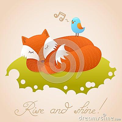 Cute baby card with sleeping red fox