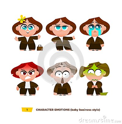 Free Cute Baby Characters Emotions Set. Stock Images - 101296314