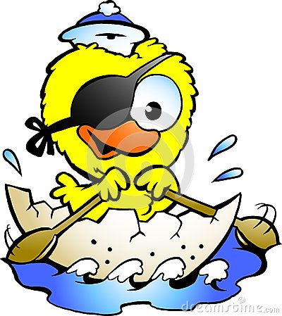 Free Cute Baby Chicken Rowing A Boat Royalty Free Stock Photo - 27036745