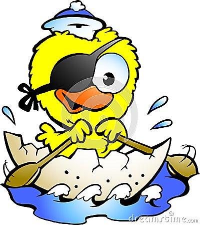 Cute baby chicken rowing a boat