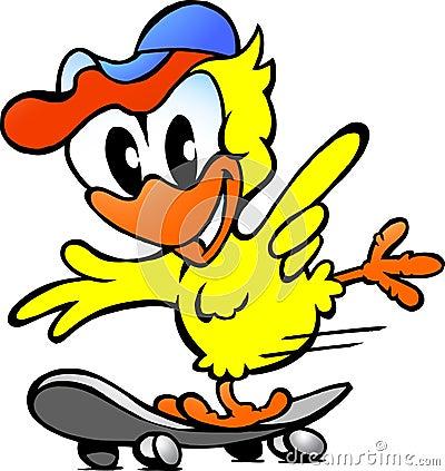 Cute baby chicken on skateboard