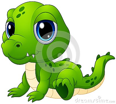 Cute baby crocodile cartoon Vector Illustration