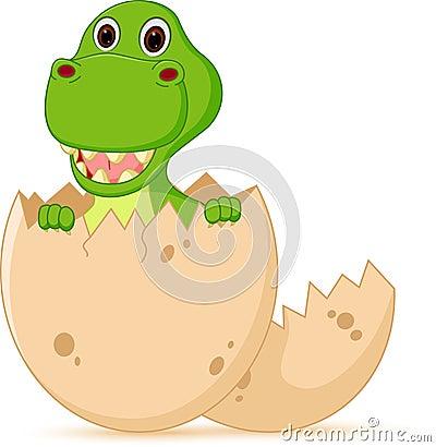 Free Cute Baby Dinosaur Cartoon Hatch Royalty Free Stock Image - 48518156