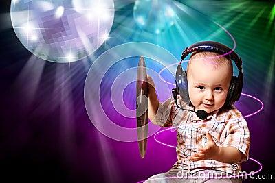 Cute baby dj in disco