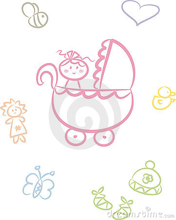 Free Cute Baby Doodle Set (Girl) Stock Photography - 10536152