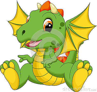 Free Cute Baby Dragon Cartoon Stock Photo - 43696870