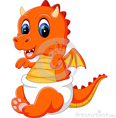 Free Cute Baby Dragon Cartoon Stock Photos - 70355363