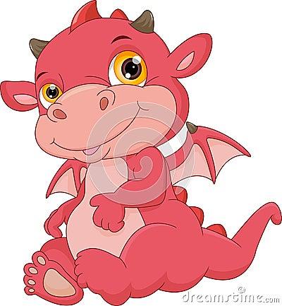 Free Cute Baby Dragon Cartoon Royalty Free Stock Image - 87523496