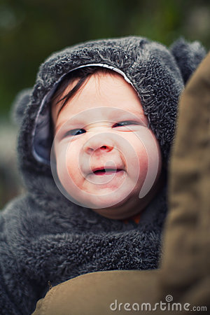 Cute baby dressed for winter