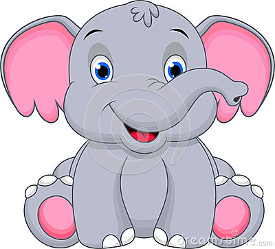 Free Cute Baby Elephant Cartoon Stock Images - 36081704
