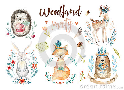 Cute baby fox, deer animal nursery rabbit and bear isolated illustration for children. Watercolor boho forestdrawing Cartoon Illustration