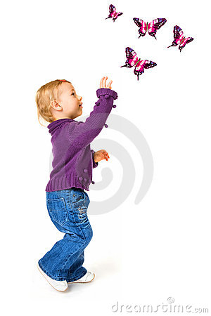 Free Cute Baby Girl And Butterflies Stock Image - 6964501