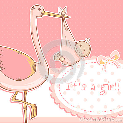 Cute baby girl announcement card with stork and ch