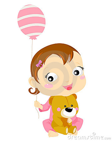 Cute baby girl with balloon and teddy