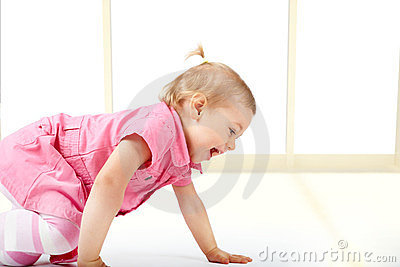 Cute baby girl crawling