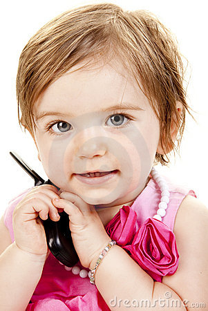Cute Baby Girl Holding A Cell Phone
