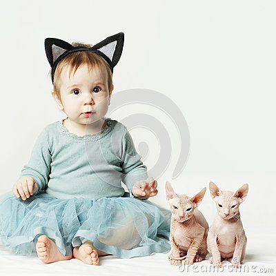 Cute baby girl and kitten, card