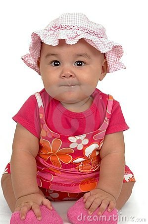 Cute Baby Girl In A Pink Dress Royalty Free Stock Photos - Image ...