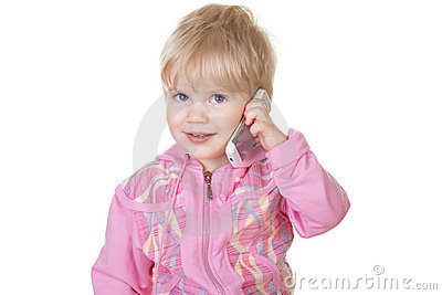 Cute baby girl talking on mobile phone