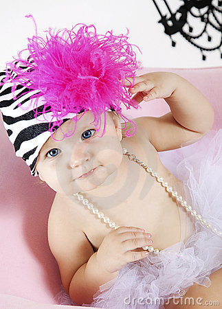 Cute Baby girl in tutu and hat