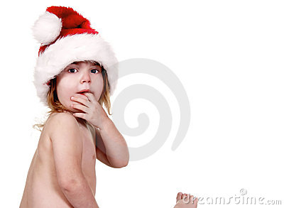Cute Baby Girl Wearing a Santa Clause Hat
