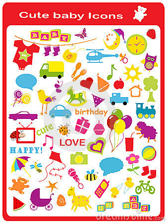 Free Cute Baby Icons Royalty Free Stock Image - 7924626