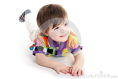 Cute baby kid on the floor