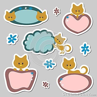 Cute baby kitten stickers