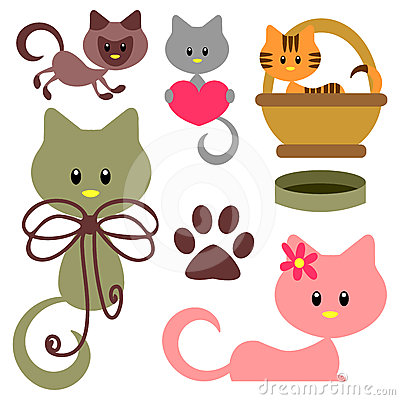 Cute baby kittens set