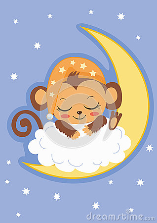 Free Cute Baby Monkey Is Sleeping On The Moon. Cartoon Vector Card. Royalty Free Stock Images - 69409199