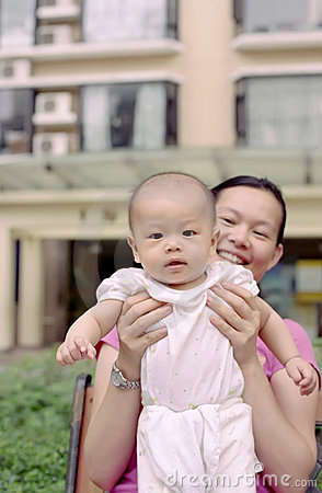 Cute baby and mother