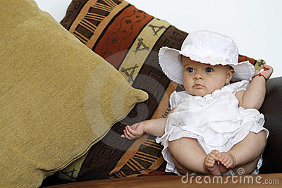 Cute baby portrait on the couch