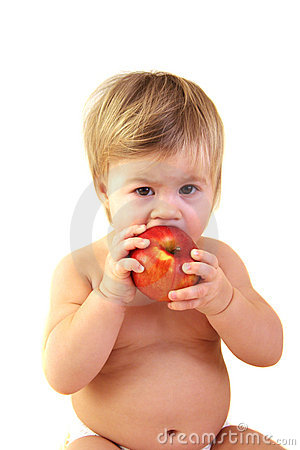 Cute Baby With Red Apple Royalty Free Stock Photography - Image: 12749207