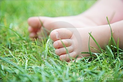 cute baby`s feet on green grass