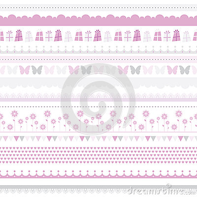 Free Cute Baby Seamless Border. Child Birthday Pattern. Royalty Free Stock Images - 27475999
