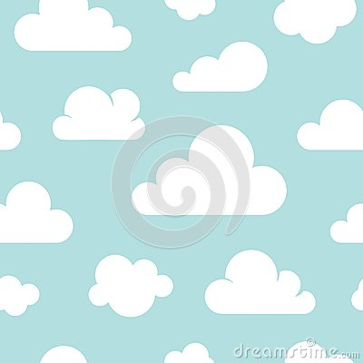 Free Cute Baby Seamless Pattern With Blue Sky With White Clouds Flat Icons. Cloud Symbols Background For Kids Fabric, Nursery Stock Images - 120955684