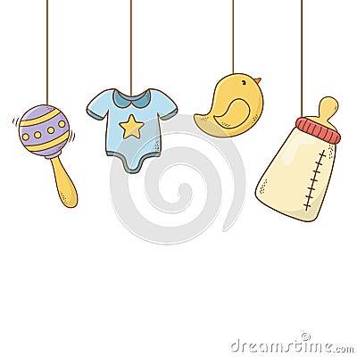 Free Cute Baby Shower Cartoon Royalty Free Stock Photos - 145015938