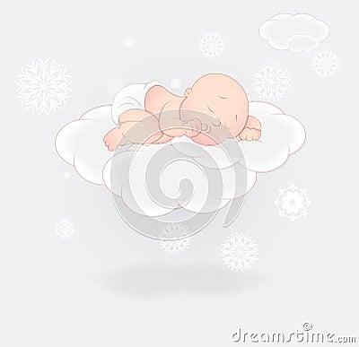 Cute Baby Sleeping on Cloud