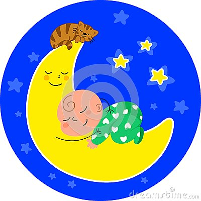 Cute baby sleeping on the moon
