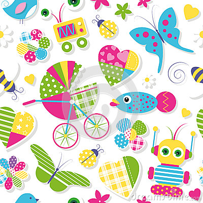 Free Cute Baby Stroller Hearts Flowers Toys And Animals Pattern Stock Photography - 49137722
