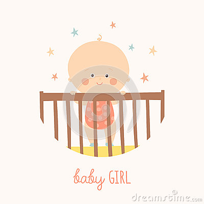 Cute Baby 1 year old standing in Crib. Baby shower design element. Vector Illustration