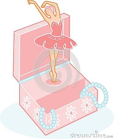 Cute Ballerina Jewelry Box Illustration Royalty Free Stock ...