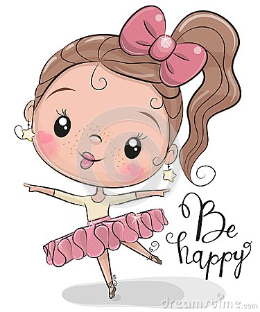 Free Cute Ballerina On A White Background Stock Photography - 122300632