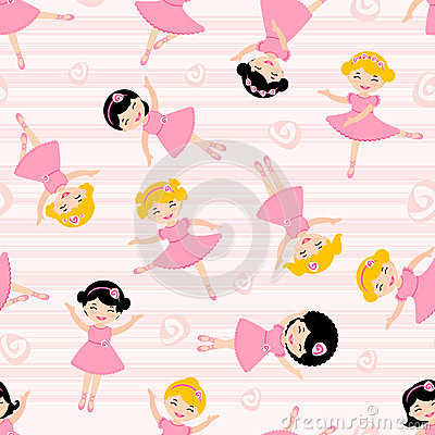Cute ballerinas seamless pattern