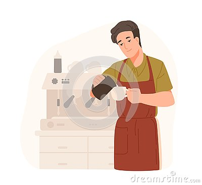 Cute barista making cappuccino at cafe or coffeeshop. Smiling young man in apron adds cream or milk in coffee. Male Vector Illustration